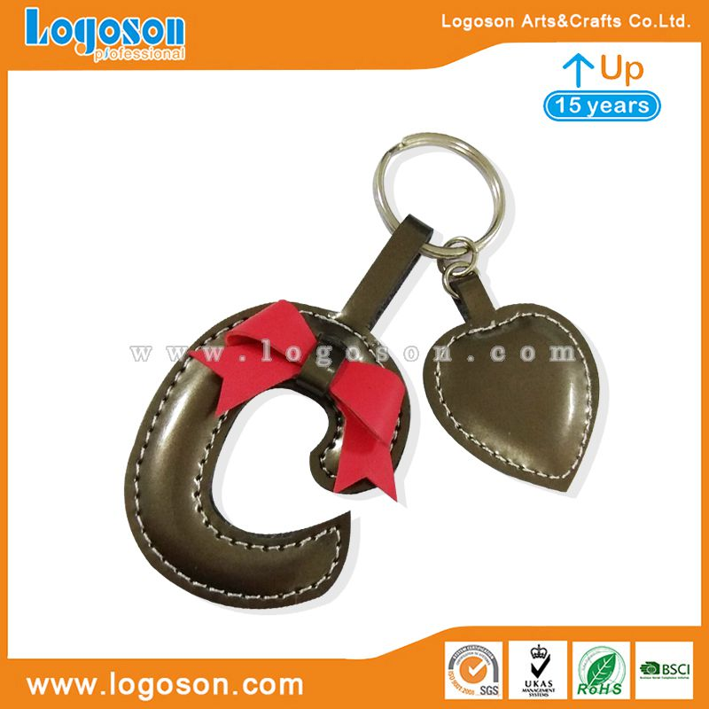 letter leather keychain